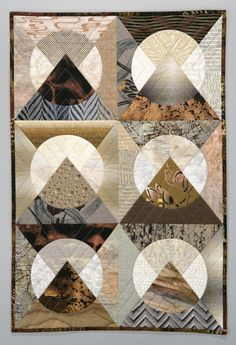 Moon Over the Mountain, 24 x quilt by Rebecca Rohrkaste Circle Quilts, Quilt Blocks, Panel Quilts, Small Quilts, Mini Quilts, Quilting Projects, Quilting Designs, Drunkards Path Quilt, Asian Quilts
