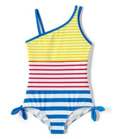 82643509f1e07 Lands' End Girls Slim One Piece Swimsuit-Dandelion/White Stripe
