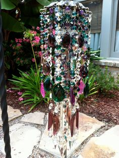 BoHo Chic Crystal Windchime with Unique Vintage 50s Bohemia glass and Czech Flower Prisms