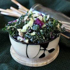 Massaged Kale Salad with Lemon Tahini Dressing is fresh and delicious. Kale is massaged to tenderness and is then combined with a super dressing and contrasting veggie textures.