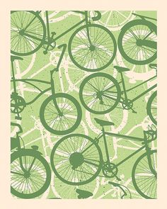 Bicycle Screenprint di SubjectMatterStudio su Etsy