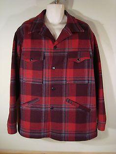 da5e05e542 Mens Vintage Pendleton Pure Virgin Wool Red Gray Plaid Jacket Coat  Excellent XL