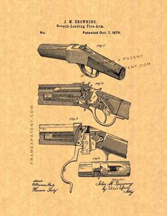 "Winchester 1885 single-shot rifle Patent Print - Ancient Gold Parchment 5"" x 7"" for $7.95"