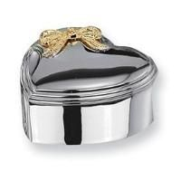 Inspired Silver - Silver-Plated Heart with Gold-Tone Bow Jewelry Box, Jewelry & Keepsake B