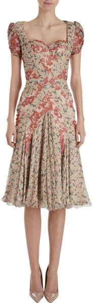 Floral Bustier Dress - Lyst make a dress like this but with spaghetti straps and one colour or a nice pattern