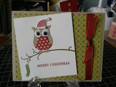 This week I've received a couple of really cute Christmas cards from friends so I thought I'd share them. Christmas Card For Teacher, Cute Christmas Cards, Christmas Paper Crafts, Homemade Christmas Cards, Christmas Owls, Stampin Up Christmas, Homemade Cards, Holiday Cards, Owl Punch