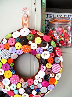 Wreath for Christmas GIANT Gingerbread smothered with sweetie looking Buttons