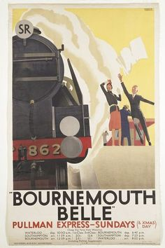 Colour lithograph poster with a design showing a steam train pulling away from a platform. Designed by Andrew Johnson and issued by the Southern Railway, Great Britain, Museum Number Tourism Poster, Poster Ads, Advertising Poster, Poster Prints, Train Posters, Railway Posters, Vintage Maps, Vintage Travel Posters, Vintage Stuff