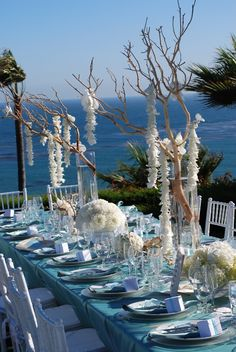 Blue beach table with white accents - so lovely! Blue Beach Wedding, Beach Wedding Reception, Nautical Wedding, Wedding Table, Destination Wedding, Dream Wedding, Wedding Planner, Beach Weddings, Seaside Wedding