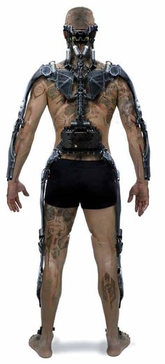Elysium Concept Art of an Exosuit used to enhance physical performance…