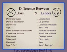Difference between a boss and a leader-My husband was a true leader in a supervisory position. I know because I worked in the same office.
