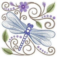 Rippled Dragonflies 2 05(Sm) machine embroidery designs