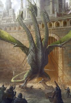 Huge 3 Headed Hydra or Dragon Castle City This is beautifully done. But the chains around the necks make me angry. Tiamat Dragon, Cool Dragons, Dragon Artwork, Fantasy Monster, Mythological Creatures, Fantasy Inspiration, Magical Creatures, Fantasy Artwork, Creature Design