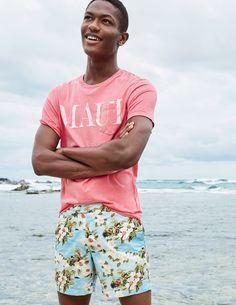 "J.Crew men's ""MAUI"" T-shirt and 6 ½"" tab swim short in beach floral."