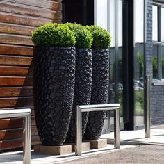 Tall, beautifully selected pots embossed with dark stones bring a sleek feeling to the front doors. LOVE…