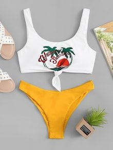 Shop Tropical & Letter Print Mix and Match Bikini online. ROMWE offers Tropical & Letter Print Mix and Match Bikini & more to fit your fashionable needs. Trendy Swimwear, Cute Swimsuits, One Piece Swimwear, Bikini Swimwear, Bandeau Swimsuit, Romwe Swimwear, Bikini Dress, Flounce Bikini, Bikini Body Guide