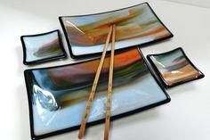 Sushi Set Orange White and Green Streaky Glass by LynnesArtGlass, $89.00