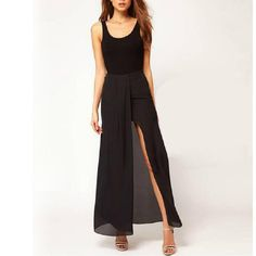 Hot Sexy Womens Open Side Split Skirt Summer Solid Chiffon Long Maxi Skirts Boho Dress S M L Irregular Long Skirts * Continue with the details at the image link. #CasualSkirts