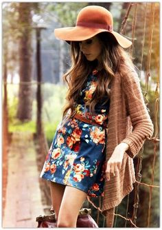 floral dress, boots, hat. good transition to fall style.