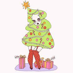 No photo description available. Christmas Phone Backgrounds, Merry Christmas To All, Christmas Stuff, Xmas, Fun Illustration, Pop Surrealism, Santa Baby, Pin Up Art, Big Eyes