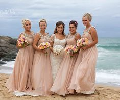 Salmon Pink Long Bridesmaid Dresses