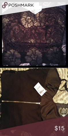 Leather crop top Never worn still has tags, super cute. Got for New Years but decided on a different outfit Charlotte Russe Tops
