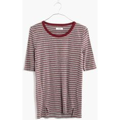 MADEWELL Soundcheck Ringer Tee in Stripe ($45) ❤ liked on Polyvore featuring tops, t-shirts, hthr grey, ribbed tee, slim fit t shirts, layering tees, stripe tee and striped t shirt