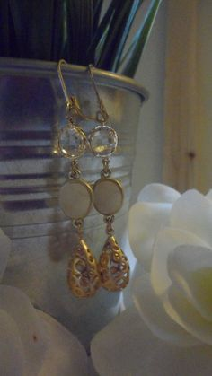 JOSIE--White Druzy Dangle Earrings by Perfectly Paired Jewelry, $29.00