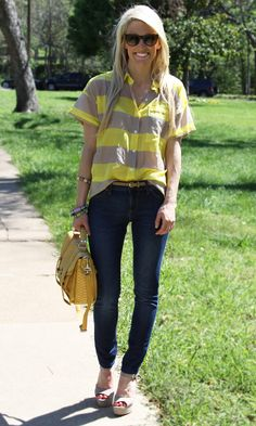 blonde. yellow and khaki. jeans (standard.) bracelets. shades. purse. everything. love.