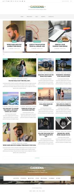 Cadena is clean design, simple and light WordPress blogging template. Perfect for a wide range of categories such as travel, hobbies, photography, and personal with a variety of layouts and cool features. #Masonry #blog #template
