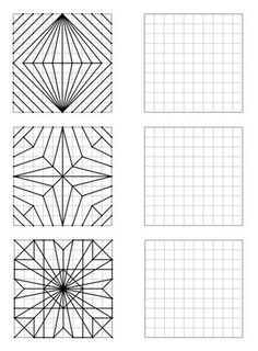 Here is a file of 30 geometric figures of increasing difficulty to repro - Holly's Education Archive Graph Paper Drawings, Graph Paper Art, Middle School Art, Art School, Art Worksheets, Math Art, Zentangle Patterns, Geometric Art, Mandala Art