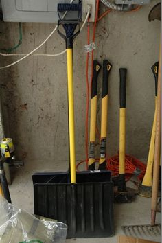 Tool lot including fishing poles, mulch, weed whacker, chain saw, extension cords, Ryobi edger, Homelite chainsaw, Werner 18' Ladder, etc.