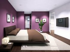 Wall white and purple bedroom