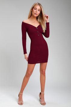 278b7226ee88 Avina Burgundy Ribbed Off-the-Shoulder Bodycon Dress Bodice, Neckline, Over  The