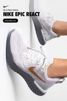 Go in new colors. Kickstart your race-day training in the soft & springy Nike Ep. - Go in new colors. Kickstart your race-day training in the soft & springy Nike Epic React, now on Ni - Cute Shoes, Me Too Shoes, Sneakers Fashion, Sneakers Nike, Sneaker Store, Ga In, Baskets Nike, Running Shoes Nike, Nike Training Shoes