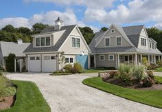 Architecture: Good Cape Cod Style House With Gravel Driveway And Barn Garage Doors Plus Shed Dormer Window Under Cupola For Farmhouse Exterior With Gray Shingle Siding And White Trim Also White Columns Dormer House, Shed Dormer, Dormer Windows, Barn Garage, Garage Doors, Garage Studio, Barn Doors, Cape Cod Style House, Shingle Siding