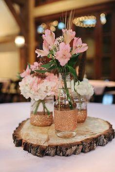 Pink alstroemeria centerpieces - kind of pretty arrangement!