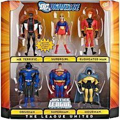DC Universe Justice League Unlimited Exclusive Action Figure 6-Pack The League United (Superman, Supergirl, Mr. Terrific, Elongated Man, Obsidian and Hourman) by Mattel. $30.00. For Ages 4 & Up. DC Universe Justice League Unlimited action figure line from Mattel. This 6-pack includes Mr. Terrific, Supergirl, Elongated Man, Obsidian, Superman and Hourman. This cool 6 piece DC Universe The League United action figure set includes Mr Terrific, Supergirl, Elongated Man, Obsidia...
