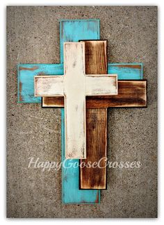 Wall Cross - Wood Cross  This OFFSET style is NEW to our line of crosses! It is a Medium Wall CROSS in Antiqued Turquoise, Stain, and Beige (or any colors of your choice). It is very rustic and gorgeous!! Simple, yet interesting!  {if you prefer different colors, please leave a note at checkout with your choices}   * measures 24 x 16 * light protective clear coat * comes ready to hang    ~~~~~~~~~~Please note…