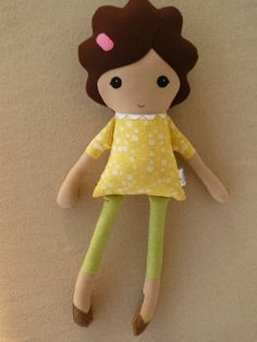 Custom Listing for Brittany - Fabric Doll Rag Doll Girl in Yellow Floral Dress