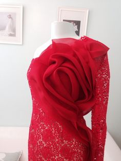 Lace and Satin NY. Custom made gown. Red lace