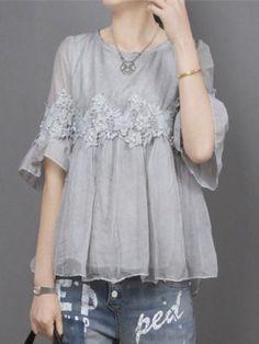 Fancy tops can pair with denim too! Kebaya Dress, Blouse Dress, Dress Up, Grey Blouse, Hijab Fashion, Girl Fashion, Fashion Dresses, Womens Fashion, Fashion Design