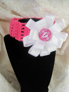 Pink crochet headband with white ribbon flower/bow by Egglintine, $15.00