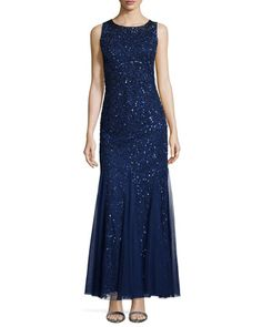 Sleeveless+Beaded+Godet+Gown++by+Aidan+Mattox+at+Neiman+Marcus.