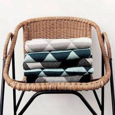 Ferm Living blankets, green, teal, blue, grey