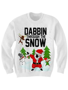UGLY+CHRISTMAS+SWEATER+DABBIN+THROUGH+THE+SNOW+SWEATER+DAB+SHIRT+FUNNY+SHIRTS+CHRISTMAS+GIFTS+WOMENS+MENS+TOPS+PLUS+SIZES+CHEAP+GIFTS+[HL0020] Color:+White Sizes:+xs-XL+(Anything+2X+&+over+requires+additional+pricing)+ PLEASE+READ:+ Made+with+100%+cotton.+Digitally+printed+with+Direct+T...