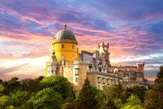 Fairy Palace against sunset sky - Panorama of Pena National Pala