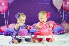 Twin Cake Smash (Purple and Pink)