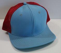 ae47ccde09d Vintage Trucker Hat Blank Light Blue Red New Era Mesh Snapback USA Made   NewEra