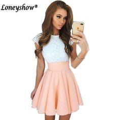 $0 - Cool Loneyshow 2017 Summer Dress Elegant Women Vestidos O-Neck Office Dress Short Sleeve Plus Size Bodycon Slim Party Lace Dresses - Buy it Now!